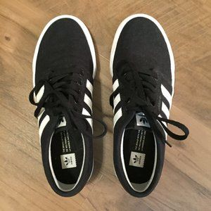 Adidas black and white canvas sneakers size 5